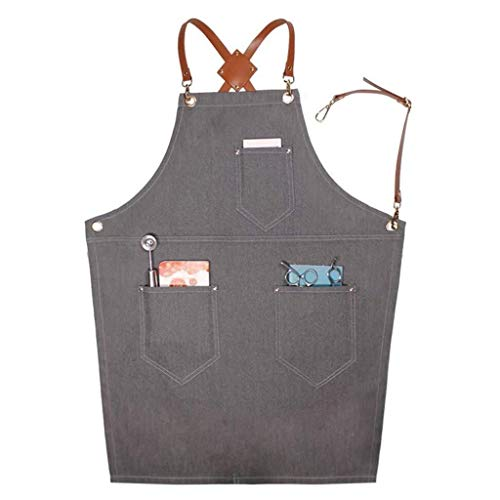 Heavy Duty Waxed Canvas Work Apron, Cross Back Straps Adjustable Water-Resistant Tool Aprons Hair Stylist Work Apron Men Women Adult Grilling Cooking (Color : A)