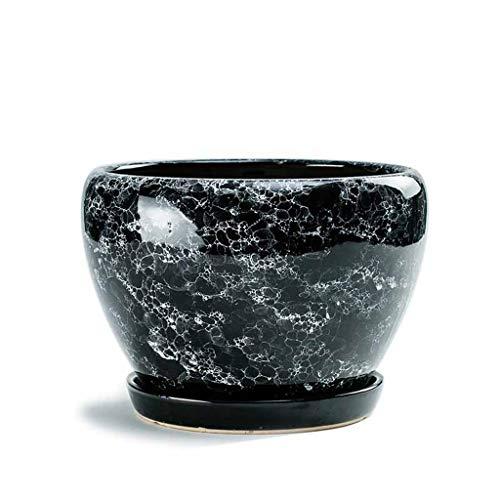 PLL nieuwe kristallen glazuur zwart keramiek bloempot huis groene radich tabletop ademende Phalaenopsis met dienblad bloempot
