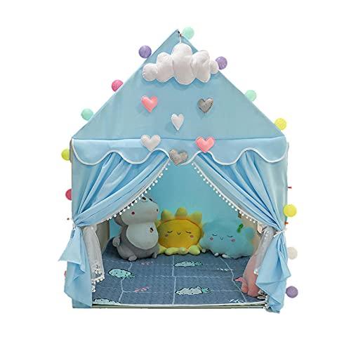 Blu Tenda Bambina con Luci a Stella a LED,Tenda Da Gioco Per Bambini Tenda Per Bambini Grandeper Bambini Giochi Al Coperto e All'Aperto,100x130x136cm