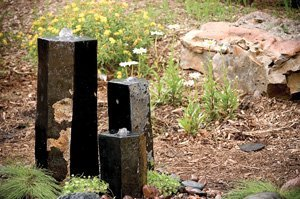 "Aquascape 98264 3 Semi-Polished Stone Basalt Columns Sm 12"" H, Med 20"" H, Large 27"" H for Pond Water Feature Waterfall Landscape and Garden"