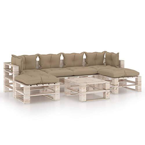 vidaXL - Paleta de madera de pino, 7 piezas con cojines, muebles de exterior, muebles de jardín, muebles de terraza, muebles de patio