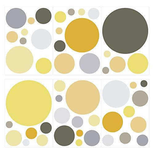 dekodino® Wandtattoo Pastell Punkte in Gelb und Grau 50 Stück Wandsticker Set