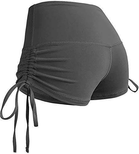 AGLOAT Pantalones cortos de yoga para mujer, con control de abdomen, con cordón lateral, para entrenamiento, fitness, correr, ciclismo, yoga, etc.