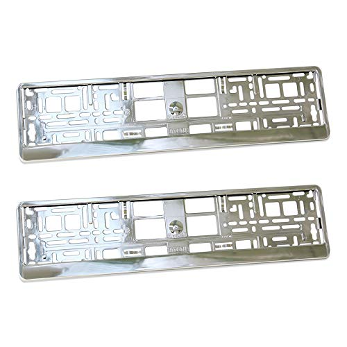 2x SUPER CHROME effect Number Plate Surrounds Holder Frame ABS PC plastic