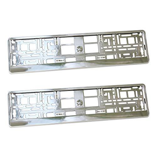 Lot de 2 supports de protection de plaques d'immatriculation en plastique effet super chrome ABS PC