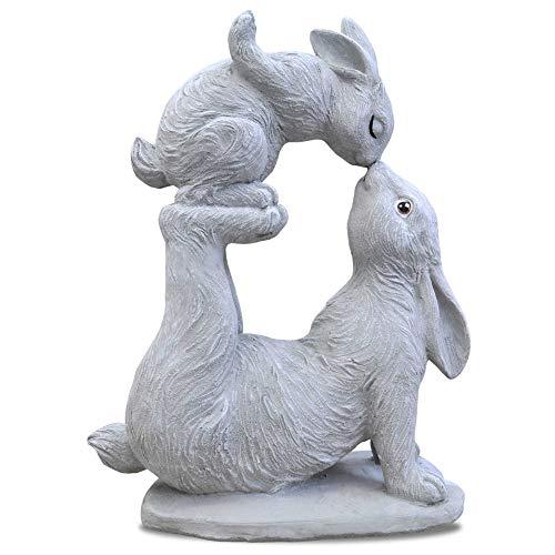 Wilai OsterHasen Garten Figur massiv Deko Stein HAB Dich LIEB Hase (Hasen Mama und Kind)
