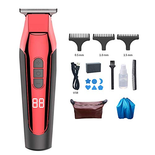 Professionele T-outliner Beard tondeuse, Draadloze Waterdichte elektrische Haircut Kit, USB oplaadbare Barber Hair Cut Red HAOSHUAI (Color : Red)