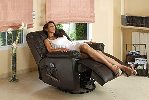 ECO-DE Sofá de masaje balancín giratorio en piel con calor lumbar ECO-8615 marron