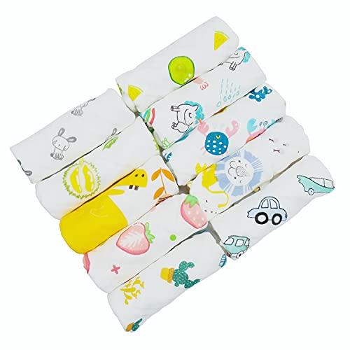ViVidLife Muselinas Bebe Algodon, 10 Piezas Toallas Bebe Gasas para Bebes, Toalla Facial Infantil Pañuelo Bebe Paños Toalla de Baño de Baño de Muselina para Niños, 30 x 30 cm (30 x 30 cm)