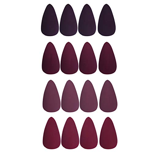 Laza 112 Pcs Colorful Fake Nails 4 Packs Stiletto Almond Peach Purplish Conch Carmine Full Cover Medium Matte Artificial Acrylic Nails - Prune Mulberry