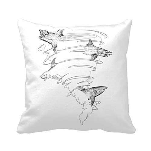 OF Sharknado Cotton Polyester Square Decorative Throw Pillow Case Zippered Cushion Cover Kissenbezüge (55cmx55cm)