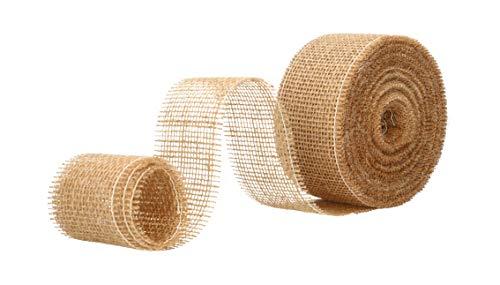 AmaCasa Eco Juteband 6cm breit, 25m Rolle   gestärktes Geschenkband mit kompostierbarem Etikett   Dekoband für wundervolle Dekorationen (Natur-Braun, 6cm/25m)