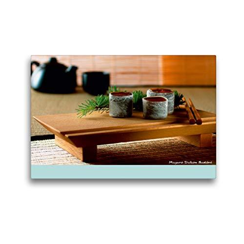 CALVENDO Premium Textil-Leinwand 45 cm x 30 cm Horizontal, Maguro Daikon Sashimi, Wandbild, Imagen sobre Keilrahmen, Fertigbild en verdadera Lienzo, Leinwanddruck Lifestyle Lifestyle