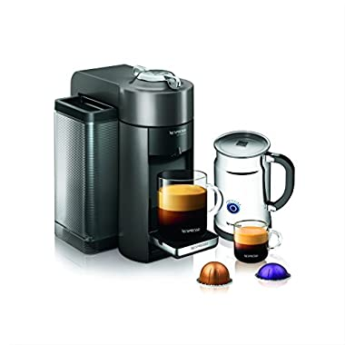 Nespresso A+GCC1-US-GM-NE VertuoLine Evoluo Deluxe Coffee and Espresso Maker with Aeroccino Plus Milk Frother, Graphite Metal (Discontinued Model)