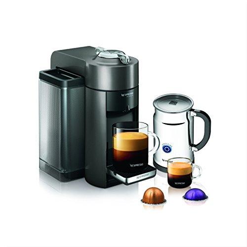 Nespresso A+GCC1-US-GM-NE VertuoLine Evoluo Deluxe Coffee and Espresso Maker with Aeroccino Plus Milk Frother, Graphite Metal (Discontinued Model)