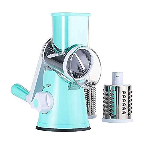 YIBOKANG Vegetable Slicer Multi-Functional Hand-Shake Cutter Roller Vegetable Chipper Kitchen Tools 3 Different Blades Strong-Hold Suction,for Grinding,Cutting Silk,Slicing