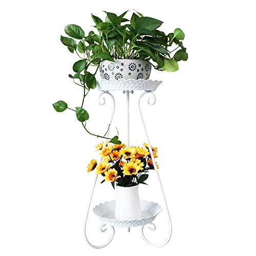 Étagères à Fleurs polyvalentes Jardinière, bacs à Fleurs à 2 étages en Fer forgé, Noir, Blanc (40 * 40 * 78cm) pour intérieur et extérieur (Couleur : Noir)