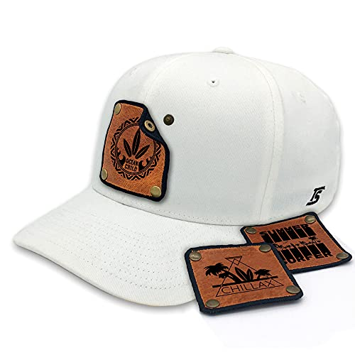 TS Caps Flexfit - Gorra de béisbol con 3 parches de piel intercambiables, diseño playero surfero, color blanco Blanco S/M