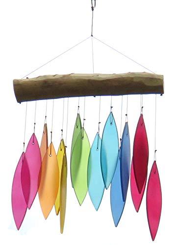 Purity Style Windspiel aus Holz und Glas in Regenbogenfarben, Fair Trade Hängendes Windspiel für Außen oder Innen in buntem Glas