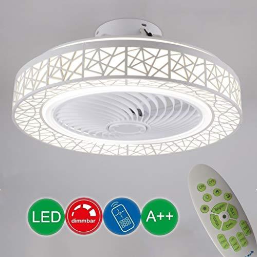LED Fan Deckenleuchte Moderne Leise Lüfterlicht Dimmbar Deckenventilator mit Beleuchtung Fernbedienung Lüfters Deckenlampe Wohnzimmer Schlafzimmer Kinderzimmer Runde Timing-funktion Fan lampen (72w)