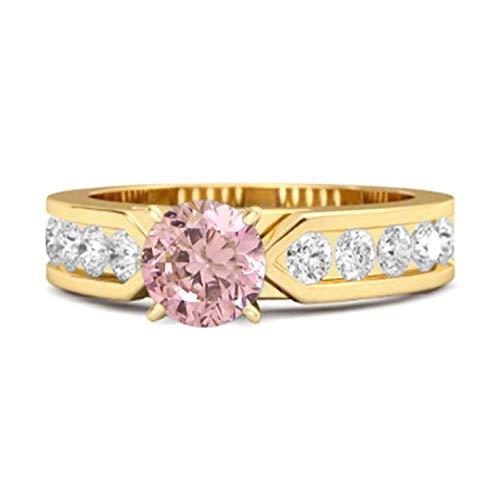 Shine Jewel Multi Elija su Piedra Preciosa 0.25 CT Plata de Ley 925 Oro Amarillo Cuento Plateado de Belleza Anillo de Mujer (15, topacio Rosa)