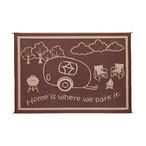 Stylish Camping Ming's Mark RH8117 Reversible RV Home Mat - 8' x 11', Brown/Beige