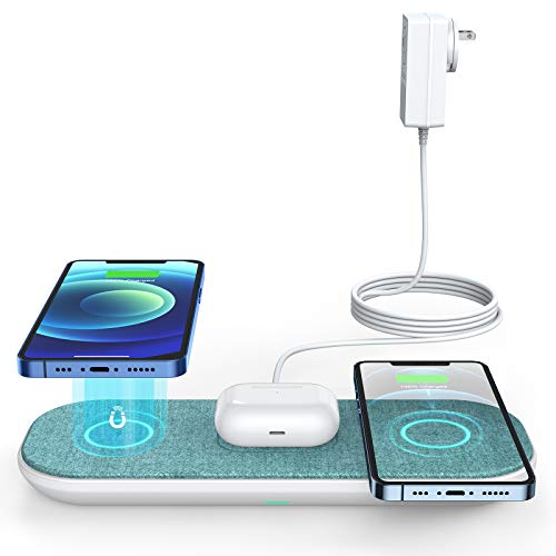 Magnetic Triple Wireless Charger,CHOETECH Fast Wireless Charger for Multiple Devices with Mag-Safe Charging,Wireless Charging Pad Compatible with iPhone 12/12 mini/12 Pro/12 Pro Max/AirPods 2/Pro