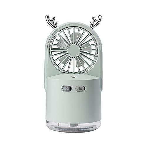 QINX Humidificador ventilador 2 en 1 portátil de escritorio, mini USB, refrigerador recargable, para exterior, viaje, portátil, silencioso, eléctrico, casa verde