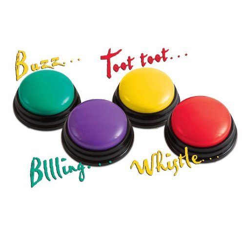 Trainers Warehouse Super Sound Answer Buzzers - Set of 4 Colorful Fun Learning Game Audio Buttons