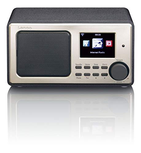 Lenco DIR-110 FM- en internetradio WLAN met wekker en weersvoorspelling (8 cm TFT-kleurendisplay, USB, 2 wektijden, UPnP-compatibel, AUX-ingang, line-uitgang, afstandsbediening)