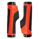 SXCXYG PuñOs Bicicleta Bicicleta Grips MTB Acoples Manillar Puños de Goma de Aluminio Anillo de Bloqueo Mango ergonómico Barra de Accesorios de Ciclismo de montaña 1 (Color : Orange)