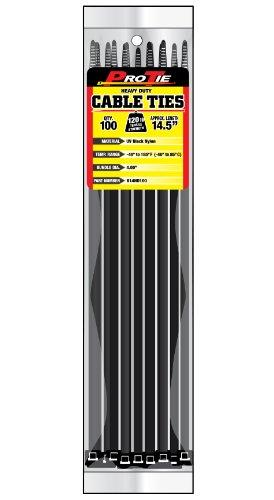 Pro Tie B14HD100 14.5-Inch Heavy Duty Standard Cable Tie, UV Black Nylon, 100-Pack