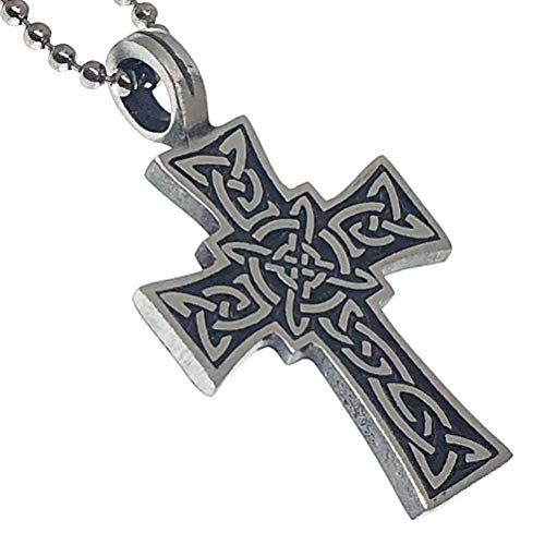 Irish Celtic Cross Jewelry Norse Viking Celt Druid Medieval Renaissance Pagan Paganism Pewter Unisex Men's Pendant Necklace Charm Protection Amulet for men women unisex w Silver Ball Chain