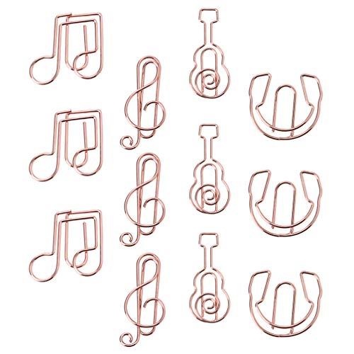TomaiBaby 12Pcs Clip de Papel Pequeño Instrumento de Clave de Sol Musical de Oro Rosa Forma de Guitarra Notas Clips Marcador de Escritorio de Música para La Escuela de La Oficina en Casa