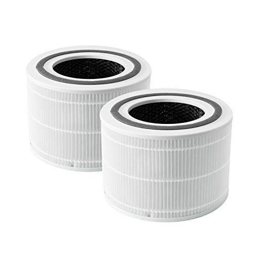 LEVOIT Air Purifier Replacement Filter, 3-in-1 True HEPA, High-Efficiency Activated Carbon, Core 300-RF, 2 Pack, White