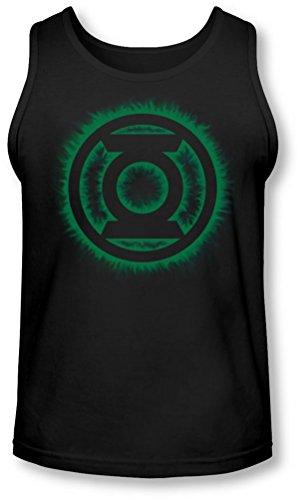Green Lantern - - Green Flame Homme Logo Tank-Top, X-Large, Black