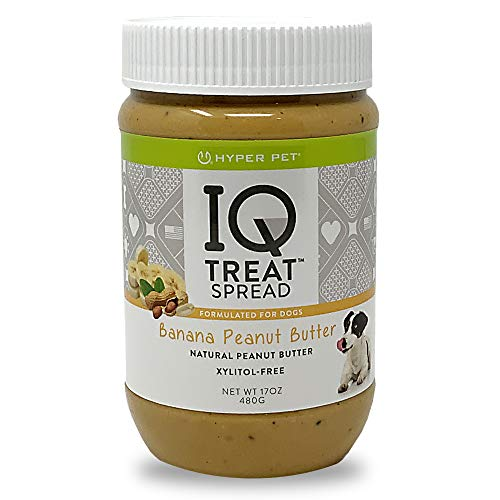 Hyper Pet IQ Treat Spread Dog Peanut Butter (100% Natural-Xylitol Free Peanut Butter for Dogs-Use IQ Treat Mat Lick Mat for Dogs) Dog Treats, Dog Snacks & Pill Pockets for Dogs-Banana