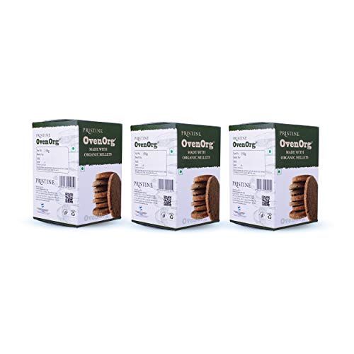 PRISTINE OvenOrg Organic Mixed Millet Biscuits (Regular, Pack 3)