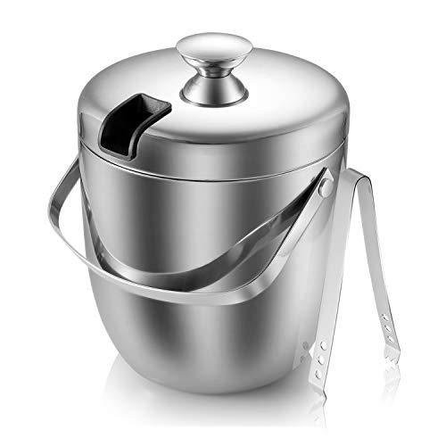 Malmo Eiseimer 2.8L Eisbehälter sektkühler eiswürfelbehälter Eiskübel Ice Bucket aus Edelstahl mit Deckel und Eiszange große Fassungsvermögen Lange Kühlung Farbe: Silber