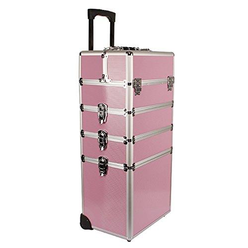 Yorbay Kosmetikkoffer Beautycase ALU Friseurkoffer Schminkkoffer Schmuckkoffer (Pink, XXL) (Mehrweg)