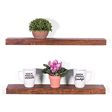 DAKODA LOVE 5.25  Deep Clean Edge Floating Shelves, USA Handmade, Clear Coat Finish, 100% Countersunk Hidden Floating Shelf Brackets, Beautiful Grain Pine Wood Wall Decor (Set of 2) (24 , Bourbon)