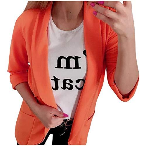JUTOO Mode Frauen Herbst und Winter Einfarbig Langarm kleine Anzug Jacke (Orange,L)