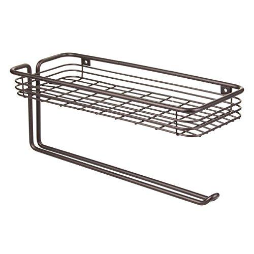 iDesign Classico Papierrollenhalter mit Ablage | wandmontierter Küchenrollenhalter inklusive Gewürzregal | für Küchenpapier und andere Küchenutensilien | Metall bronze