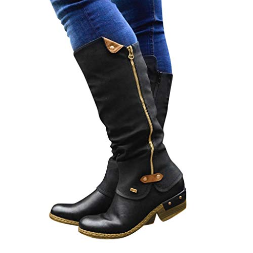 GHrcvdhw Winter Stylish Western Retro Style Cowboy Zip Knight Boots Casual College Solid Color High Tube Women Boots (Black, 40)