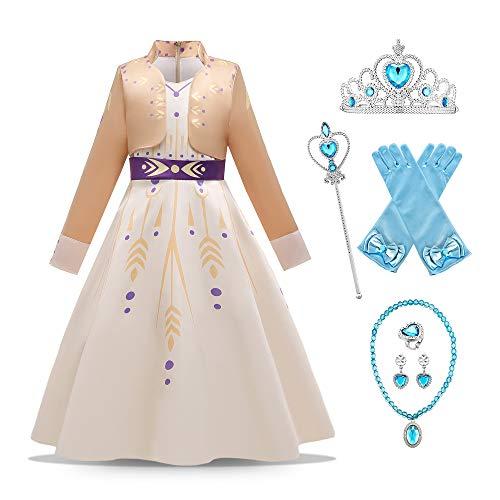 O.AMBW Vestido de Reina Ana para nias Traje Beige de Manga Larga con 6 Accesorios Disfraz de Frozen Princesa Anna Cosplay Carnaval Navidad Halloween Regalo de cumpleaos