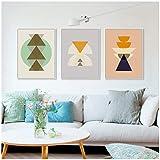 Tótem nórdico minimalista moderno Símbolo maya Impresión de arte abstracto Cartel Hipster Foto Lienzo Pintura Decoración para el hogar- 50x70cmx3 sin marco