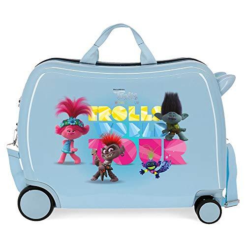 Trolls World Tour Maleta Infantil Azul 50x38x20 cms Rígida ABS Cierre combinación 38L 2,1Kgs 4 Ruedas Equipaje de Mano