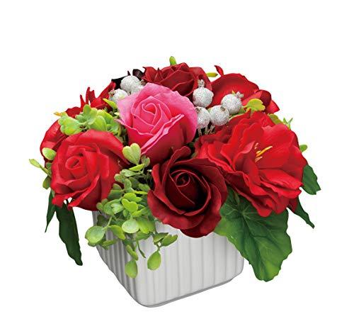 【BIO】フレグランスソープフラワー ガーデニアポット 陶器鉢 クリアケース入 記念日 お見舞い 母の日 父の日 お祝い パーティーグッズ プレゼント (レッド)