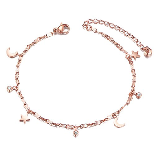 SHEGRACE Titanium Steel Anklet Pendant with Mini Moon,Stars and Round Zircons Rose Gold 200mm for Woman