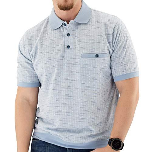Classics by Palmland Short Sleeve 3 Button Banded Bottom Knit Collar LtBlue (XXL, LtBlue)